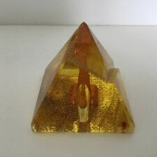Amber Pyramid Pen Holder / Paper Weight with Cleopatra's Needle  8.5cm. #404