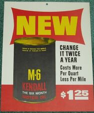 KENDALL MOTOR OIL CAN SIGN M-6 KENDALL OIL SIGN 1963