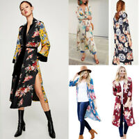 Women Vintage Floral Loose Shawl Long Kimono Cardigan Boho Tops Jacket Blouse UK