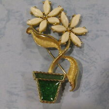TORTOLANI Flower Pot Brooch Pin Milk Glass 1960's Daisies Leaves Resin HTF