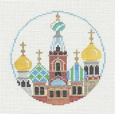 ST. PETERSBURG,  RUSSIA  Needlepoint Canvas painted Ornament Kathy Schenkel RD.