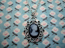 FUNKY BLACK GREY CAMEO NECKLACE CUTE KITSCH VINTAGE VICTORIAN LADY STEAMPUNK UK