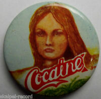 COCAINE OG VTG 1970`s Medium Button Pin Badge 37mm Punk Era not hippie ganja lsd