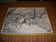 BALL POINT PEN ART INDIAN'S ON HORSE HUNTING