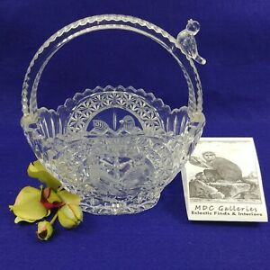 Etched Glass Basket Bird Figurine on Handle and Etched on Sides