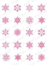 20 WINTER NAIL DECALS * PINK SNOWFLAKE ASSORTMENT* WATER SLIDE NAIL  DECAL