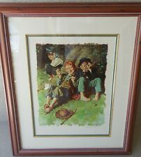 """Norman Rockwell """"First Smoke"""" Tom Sawyer Suite Lithograph Hand Signed & Numbered"""