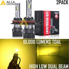 Alla Lighting 9007 Headlight High Low Bulb Golden Yellow Increasing Visibility