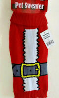"Red Pet Sweater Dog Santa Knit Shirt SIZE LARGE Christmas Holiday Theme 15-18"" L"