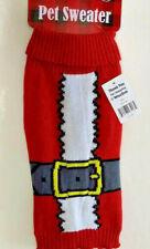 "Red Pet Sweater Dog Santa Knit Shirt SIZE LARGE Christmas Holiday Theme 15-18"" L"