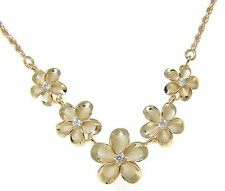 925 STERLING SILVER YELLOW GOLD HAWAIIAN PLUMERIA FLOWER ROPE CHAIN NECKLACE
