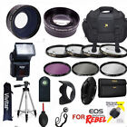 CANON EOS REBEL T7I HD KIT TRIPOD FLASH ZOOM LENS  WIDE LENS  FILTERS  REMOTE