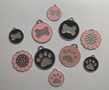 SMALL/LARGE Custom engraved Pet ID Name Tag Cat Dog Swarovski Crystal Rhinestone