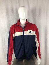 Starter Zip Up Athletic Jacket USA Color Block Red White Blue Size Large VTG 90s