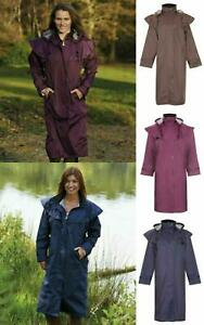 Ladies Long Full Length Waterproof Riding Rain Jacket Country Coat with Cape