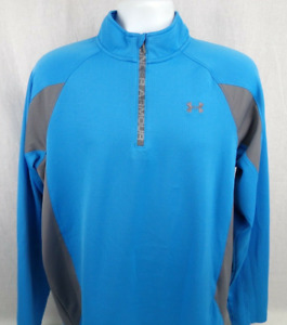 Under Armour Cold Gear Athletic Shirt Size Large Blue 1/2 Zip Long Sleeve
