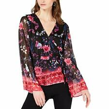 INC Women's V-Neck Long Sleeve Floral Bell Sleeve Wrap Blouse (Black, M)