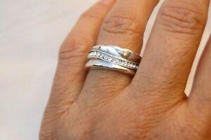 New Brighton Trinity Silver & Crystal Band Ring Size 9