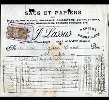 """MALAKOFF (92) USINE de SACS & PAPIERS d'EMBALLAGE """"J. LASSUS"""" en 1910"""