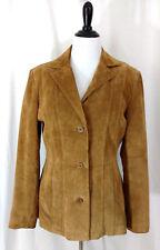 Suede Leather Jacket Womens M Light Camel Beige Blazer Style Modern Essentials