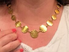 Made in Italy Hammered Finish Discs Necklace, 18K gold over Sterling Silver 925