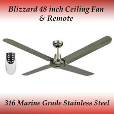 "Blizzard 316 Marine Grade Stainless Steel 48"" Outdoor Ceiling Fan and Remote"
