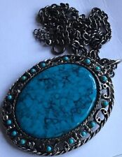 Cabochon Oval Pendant 15.5� & Extender Vtg Silver Tone Chain With Faux Turqoise