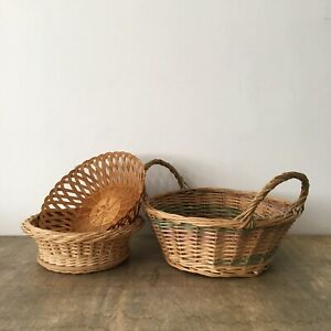 Vintage x3 Woven Straw Cane Wicker Baskets Rattan Fruit Bowls Display Storage
