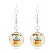 Chocolate Cupcake Photo Art Glass Cabochon 16mm Charm Earring Earring Hooks