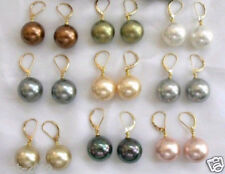 Wholesale 9 Pairs Mix Colors 10MM South Sea Shell Pearl Leverback Earrings