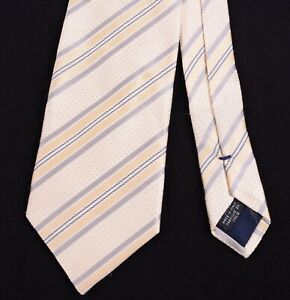 Canali Made in ITALY Champagne Gold Satin Silk Striped 100% Silk Tie