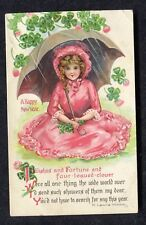 c1910 Illustrated New Year/ Christmas Card: Young Girl in Red Dress