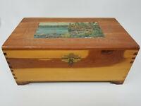 Vintage Large Handmade Wood German Carved Wooded Lake Mirrored Jewelry Box