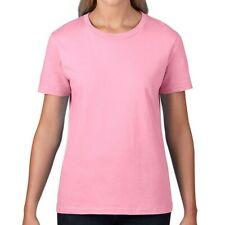 ANVIL Womens Ladies Plain TShirt Pink Short Sleeve Crew Neck Top Cotton L