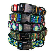 Tribal Style Dog Personalised Collar Black Custom ID Nameplate Engraved Free S-L