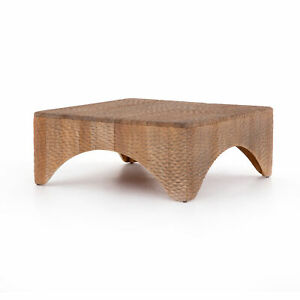 """40"""" W Coffee Table Hand Carved Mahogany Solid Wood One of a Kind Contemporary"""