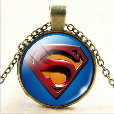 Superhero Shield Glass Photo Cabochon Superman Pendant Bronze Chain Necklace