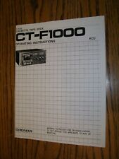 Vintage Pioneer CT-F1000 Cassette Deck Operator Manual Exact reproduction New