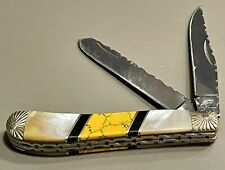 "Ocoee River 3 7/8"" Trapper Pocket Knife Mop Mother of Pearl Handle 2 Blade"