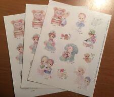 3 Sheets PRECIOUS MOMENTS Christmas XMAS Scrapbook Stickers
