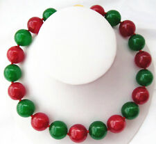 """New 14mm Round Natural Green Red Jade Beads Necklace 18"""""""