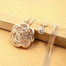 Gold-plated Mosaic crystal FLOWER chain Fashion charm long necklace DL518