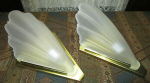 Quoizel Art Deco Brass Wall Sconce Set Scalloped Satin Glass Slip Shades