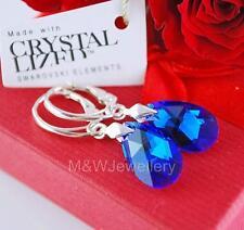 925 SILVER EARRINGS 16MM PEAR/ALMOND CAPRI BLUE AB CRYSTALS FROM SWAROVSKI®