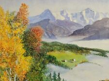 H.Koenig - Alpen-Herbst-Aquarell 1930: MORGENS AM WILDEN KAISER, NEBEL IN TÄLERN