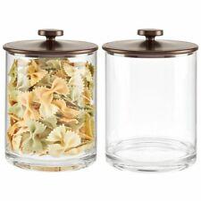 mDesign Modern Round Storage Canister Jar for Kitchen, 2 Pack - Clear/Bronze