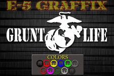 Grunt Life USMC EGA vinyl decal. Grunt Military Infantry Devil Dog