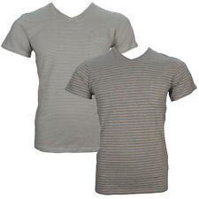 Gestreifte figurbetonte Herren-T-Shirts mit V-Ausschnitt