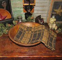 Prim Antique Vtg Style Yorktown Blk Mustard Cotton Woven COVERLET RUNNER RQ3BMSR