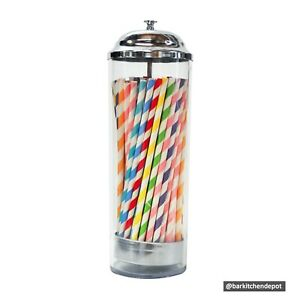 Old Fashioned Pull-up Straight Acrylic Straw Dispenser with Stainless Lid Cover
